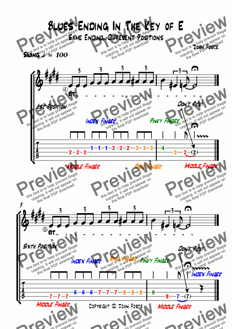 page one of Blues Ending In The Key of E: Multiple Positions