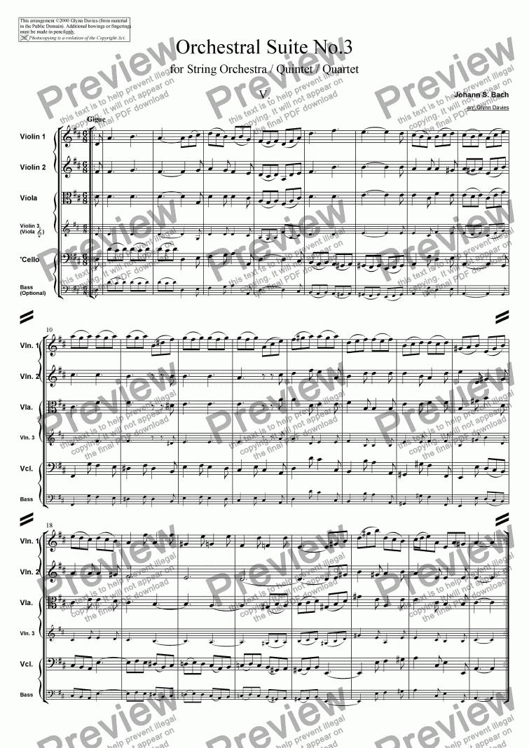 Orchestral Suite No. 3, No. 5: Gigue - Score