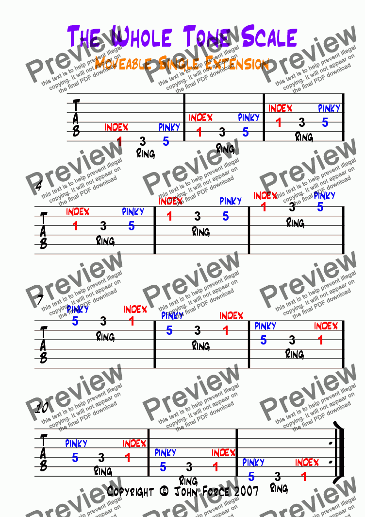 page one of Whole Tone Single String Sequence (Moveable Single Extension)