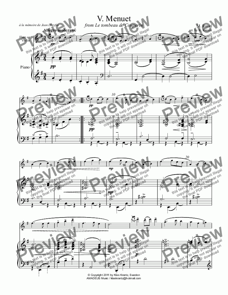page one of Menuet for flute or violin and piano