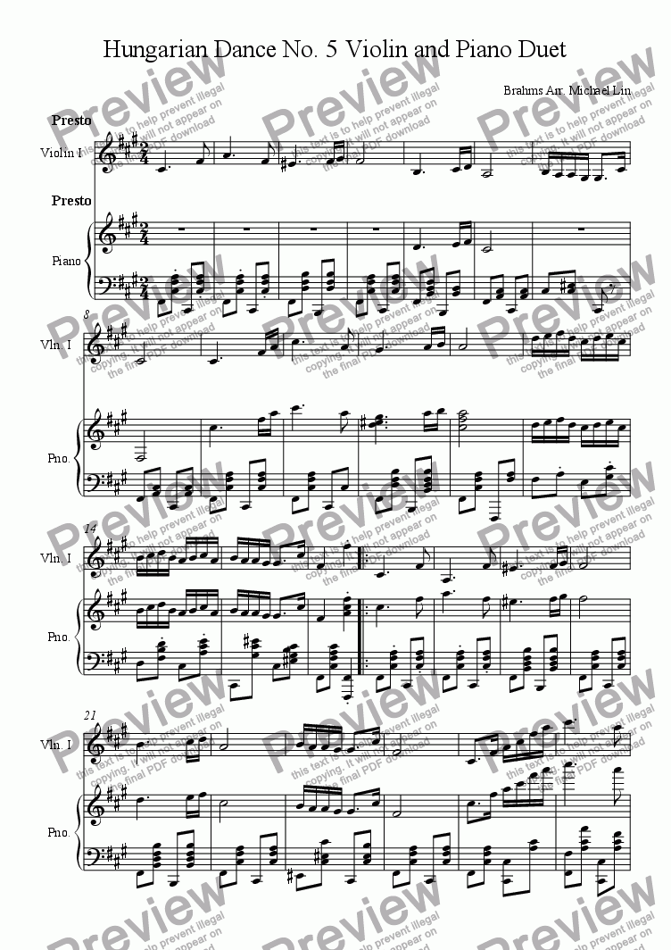 page one of Hungarian Dance No. 5 Violin and Piano Duet