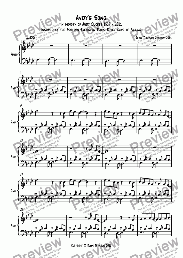 Andy's Song for Solo instrument (Piano) by Robin Thomson October 2011 -  Sheet Music PDF file to download