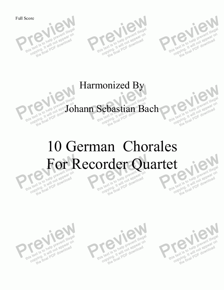 page one of 10 Bach Chorales for Recorder quartetASALTTEXT