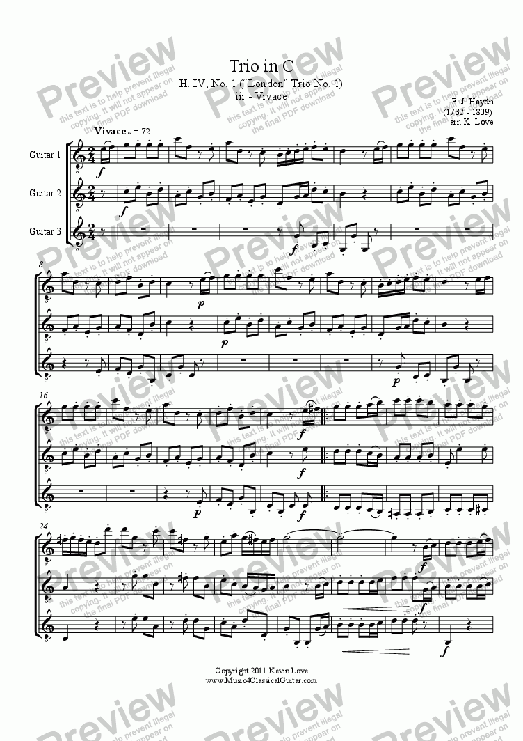page one of Trio in C - iii - VivaceASALTTEXT