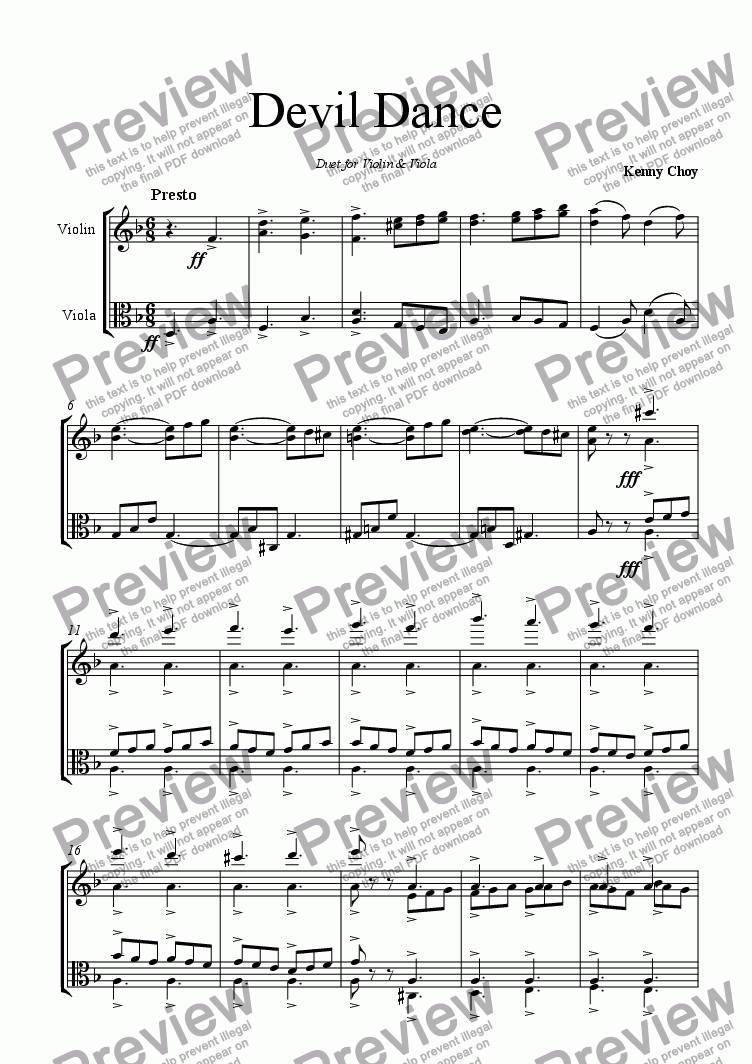 page one of Devil Dance for Violin & Viola