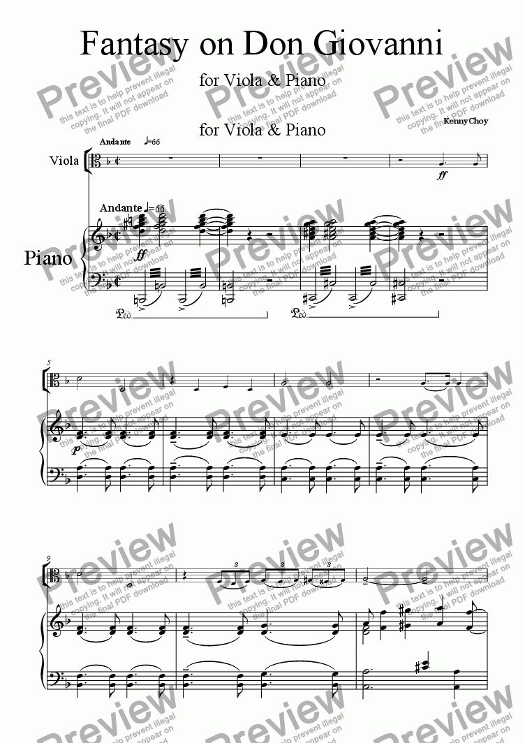 page one of Fantasy on Don Giovanni for Viola & Piano