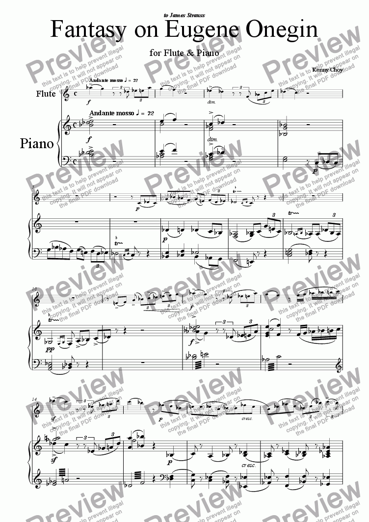 page one of Fantasy on Eugene Onegin for Flute & Piano