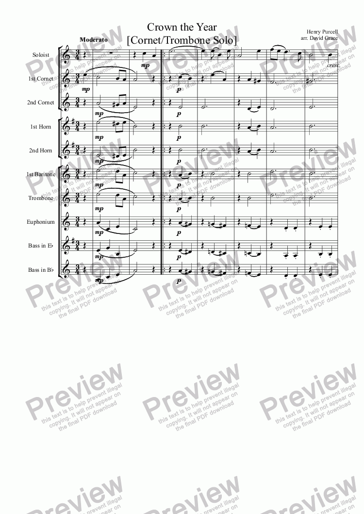 page one of Crown the Year [Cornet/Trombone Solo]