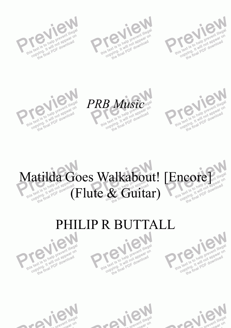 page one of Matilda Goes Walkabout! (Flute & Guitar) [Encore]