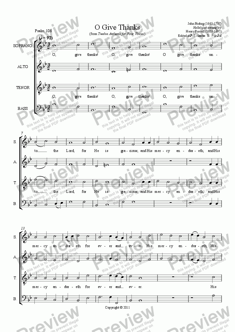 page one of O Give Thanks (from Twelve Anthems for Four Voices)