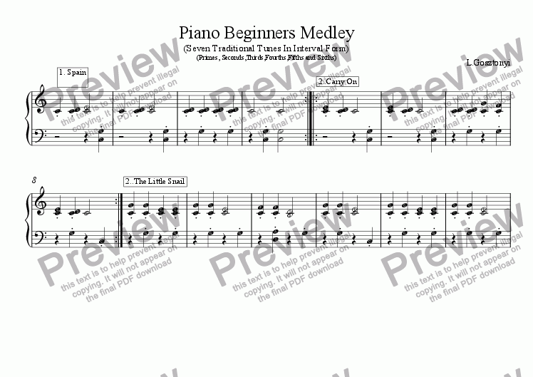 page one of Piano Beginners Medley (Easy Piano Solo)