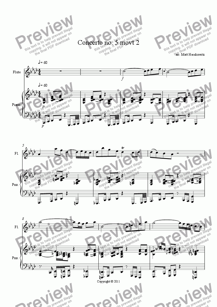 page one of Concerto no. 5 movt 2
