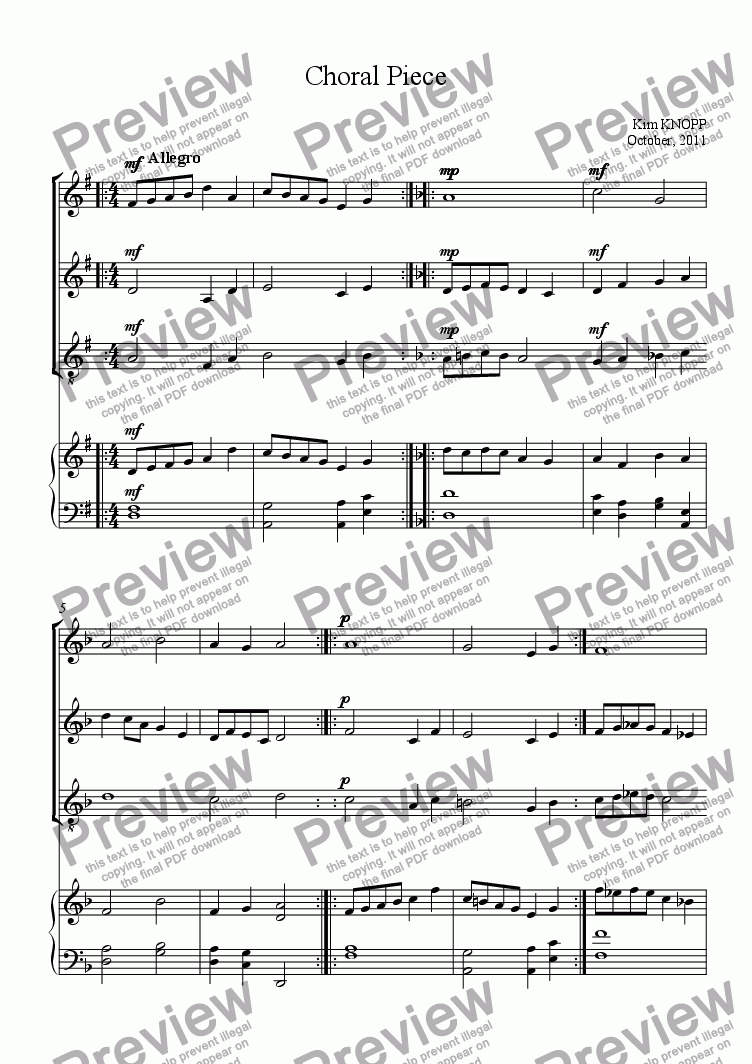 page one of Choral Piece
