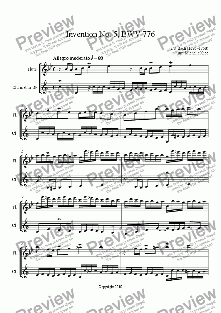 page one of Invention No. 5, BWV 776