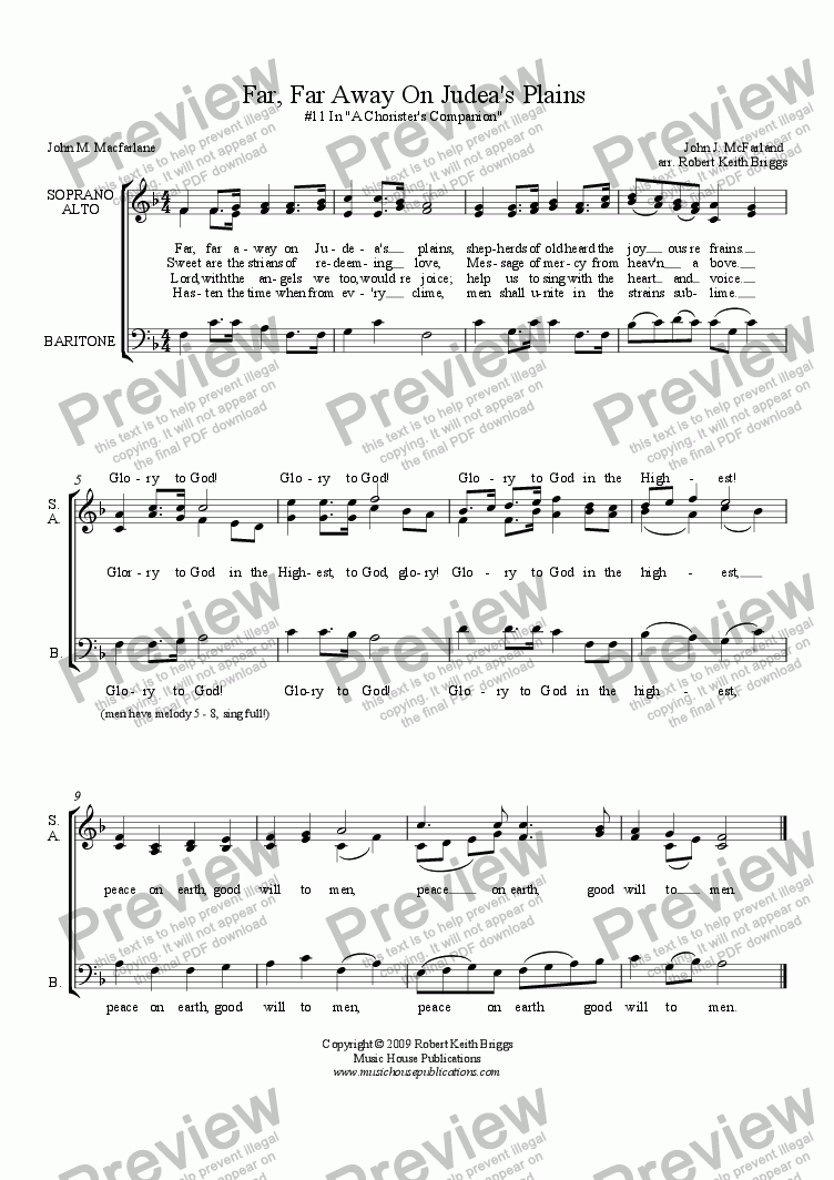 page one of Chorister's Companion #11: Far, Far Away On Judea's PlainsASALTTEXT