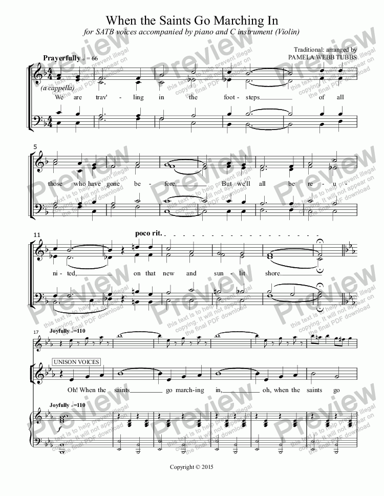 page one of When the Saints Go Marching In (TRADITIONAL GOSPEL) All Saints' Day anthem for SATB choir (and optional C instrument solo) with piano accomp., arr. by Pamela Webb Tubbs
