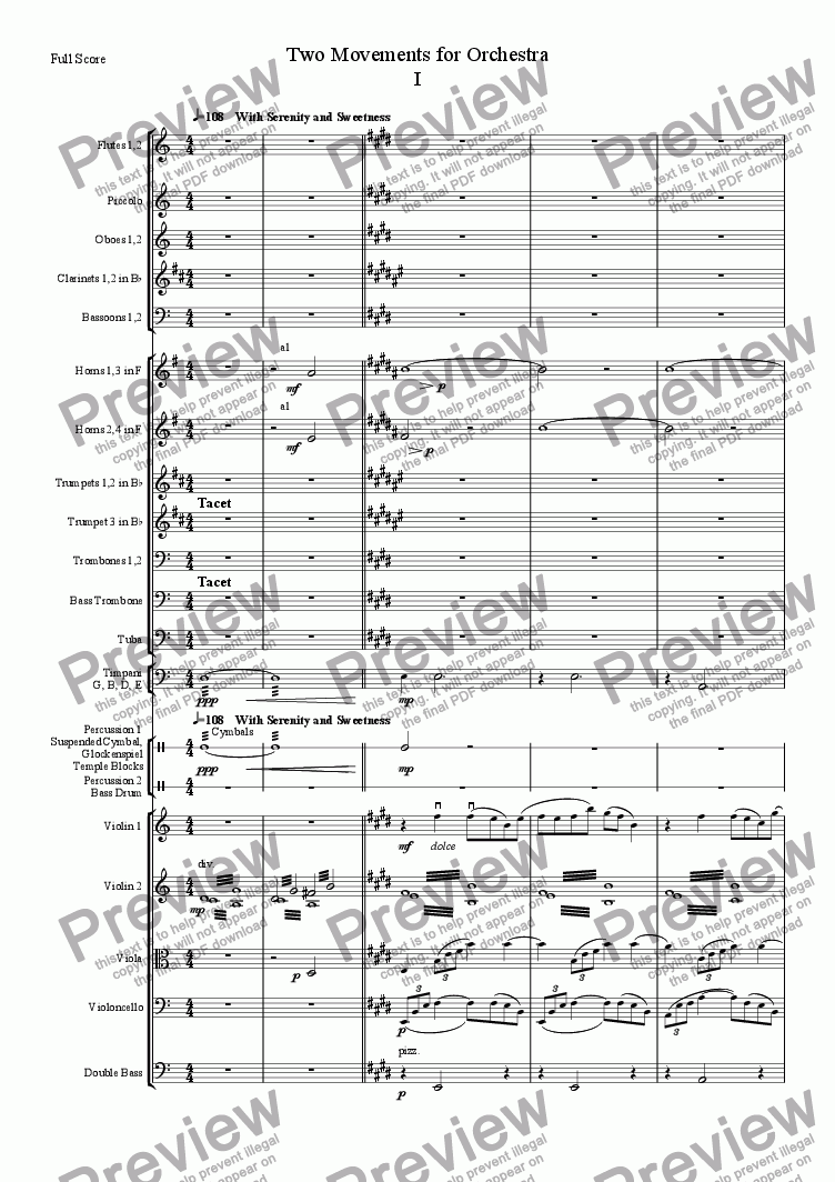 page one of Two Movements for Orchestra I