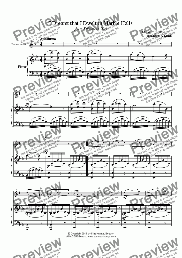 page one of Marble Halls for clarinet in Bb and piano