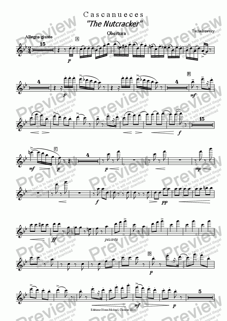 "page one of  Tchaikovsky, ""The Nutcracker""  Ballet  1st Flute orchestra part"
