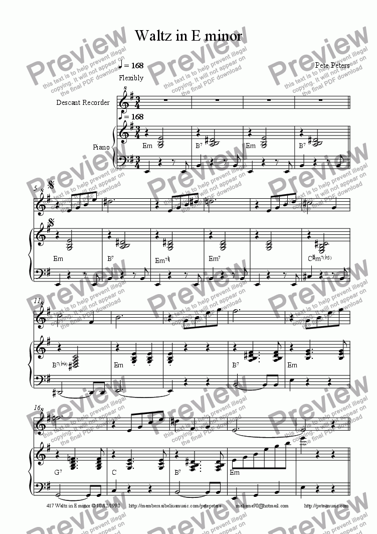 page one of Waltz in Em(Flute/Descant)