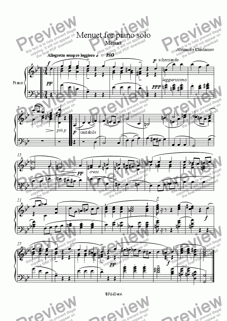 page one of Menuet for piano solo in g minor