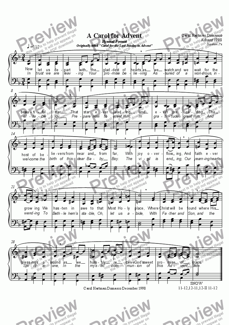 "page one of A Carol for Advent Hymnal Format Originally titled ""Carol for the Last Sunday in Advent"""