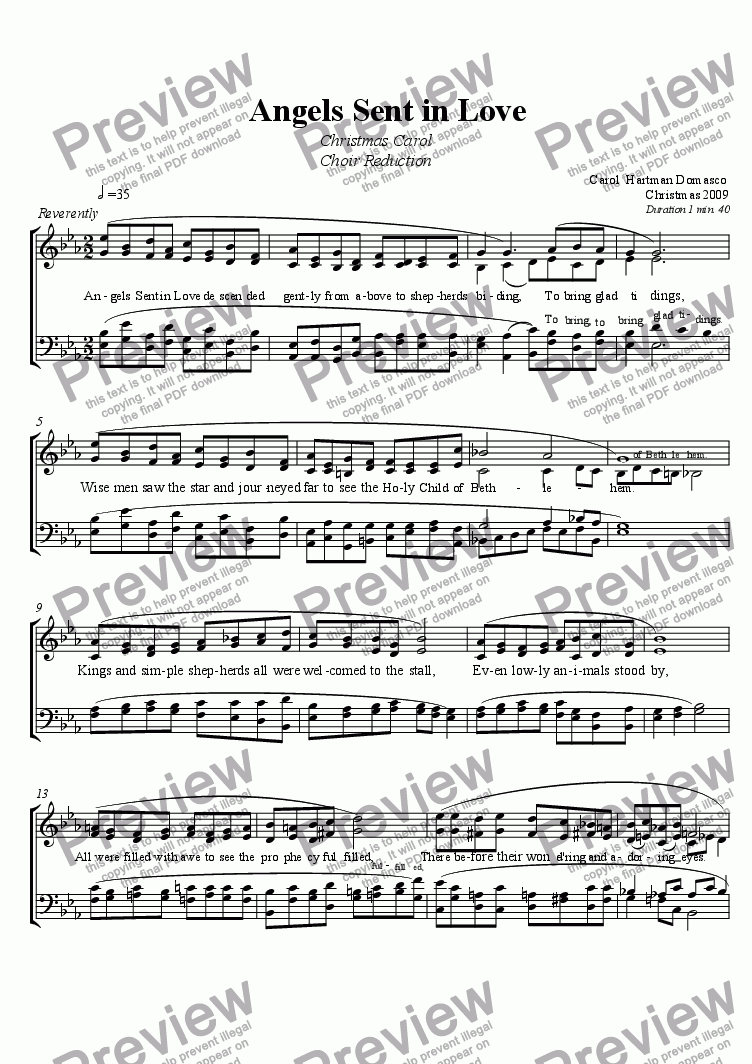 page one of ANGELS SENT IN LOVE Choir Reduction