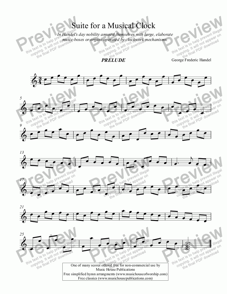 page one of Suite for a Musical Clock
