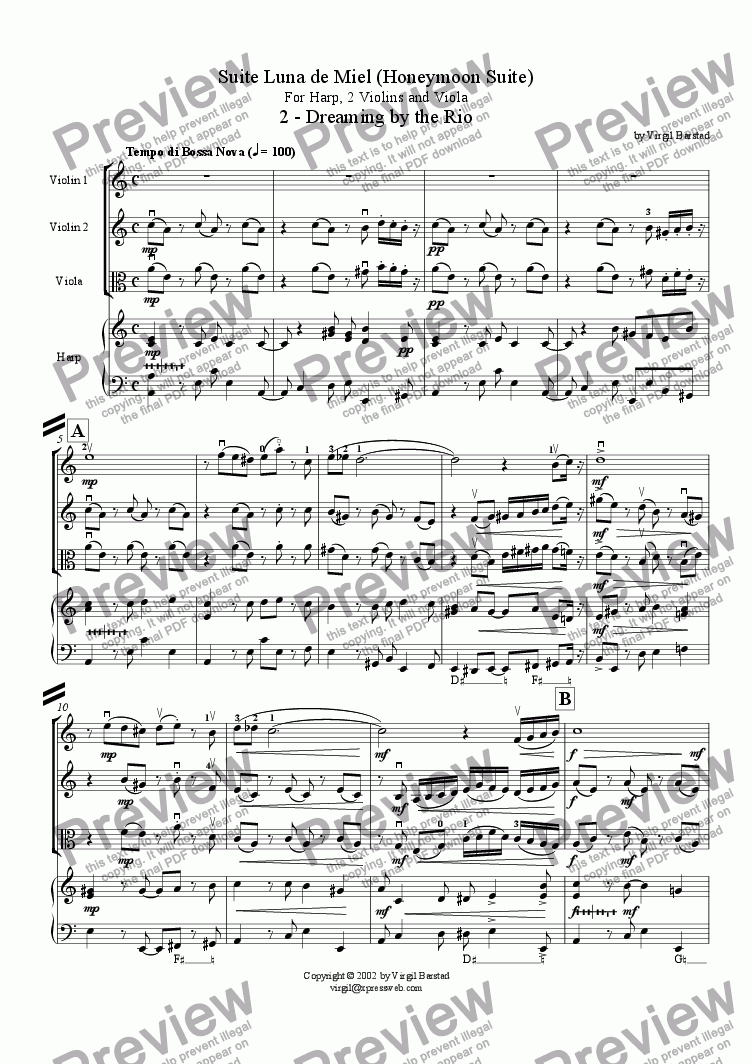 page one of 2 - Dreaming by the Rio - for harp quartetASALTTEXT