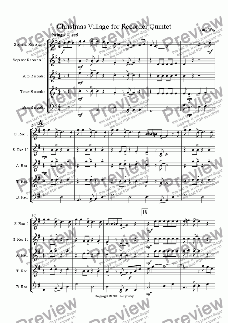 page one of Christmas Village for Recorder Quintet