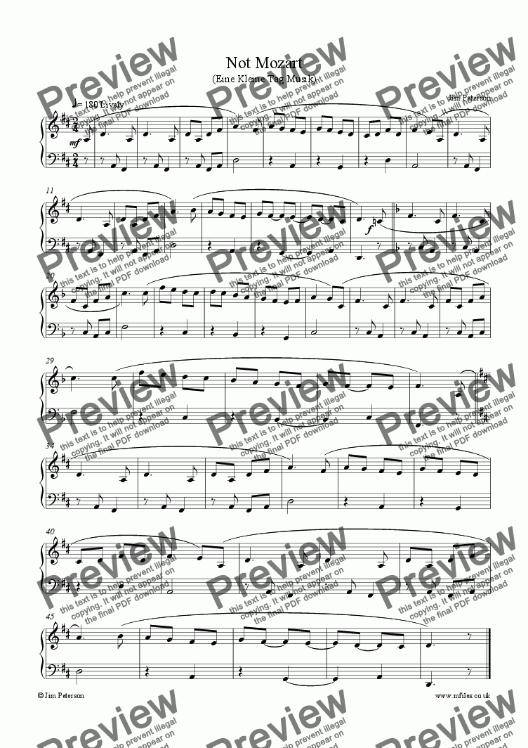 page one of Not MozartASALTTEXT