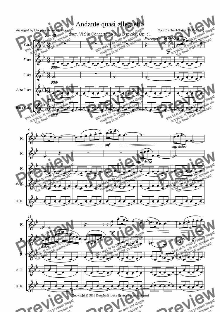 page one of SAINT-SAENS: Andante quasi allegretto (from Violin Concerto no 3) for Flute Choir (3fl, afl, bassfl)