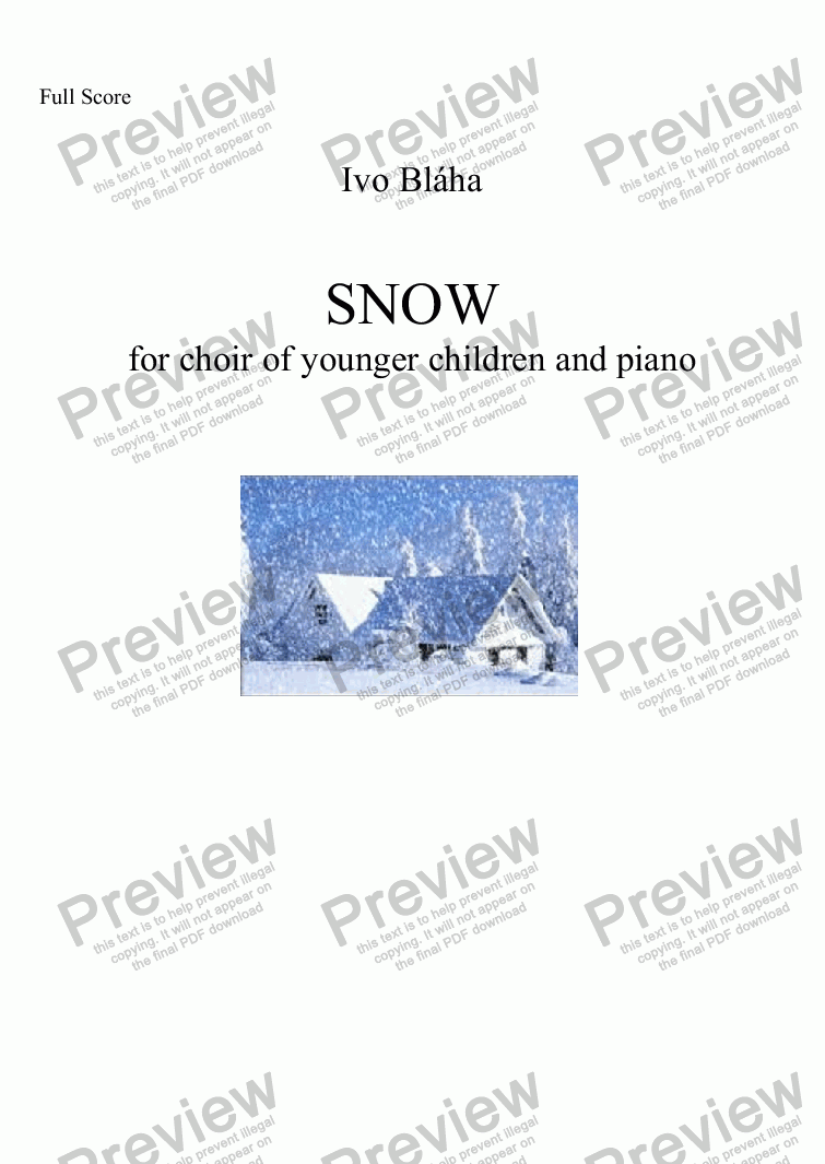 page one of SNOW (Sníh) for choir of younger childrens and piano (English words)ASALTTEXT
