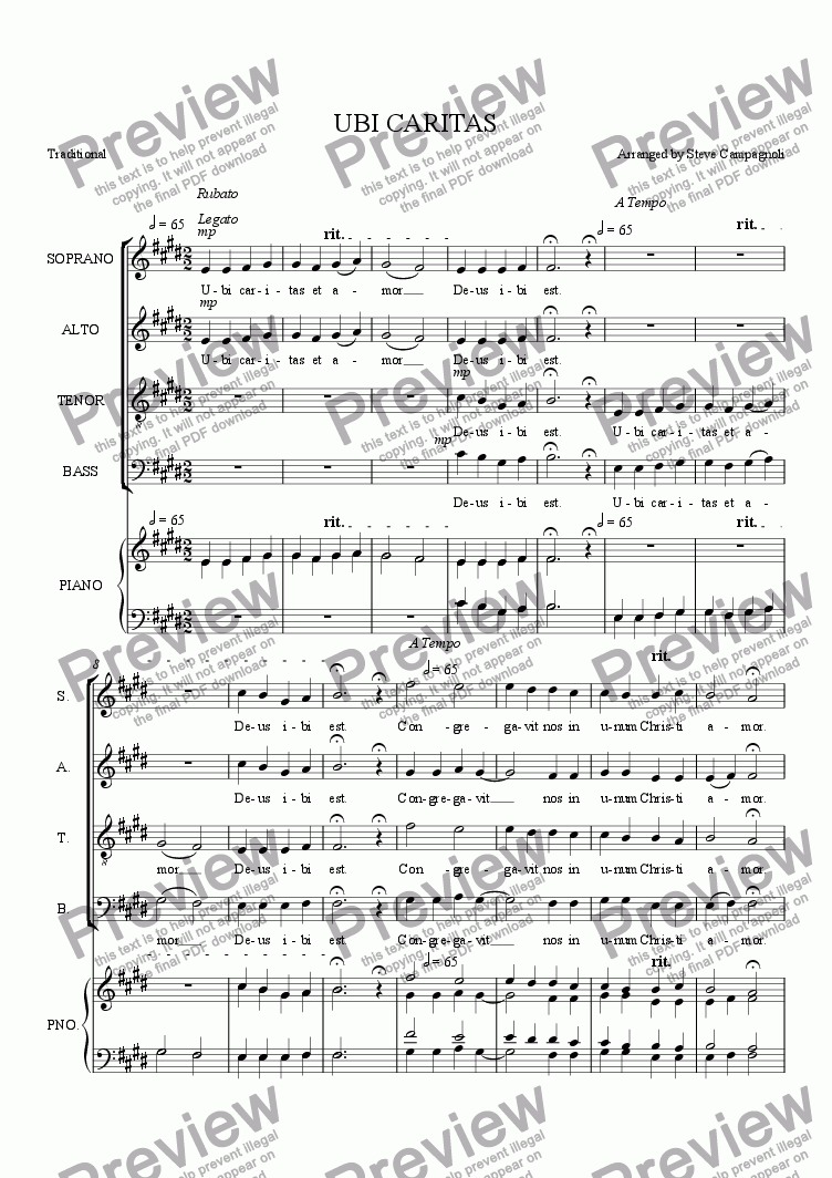 page one of UBI CARITAS