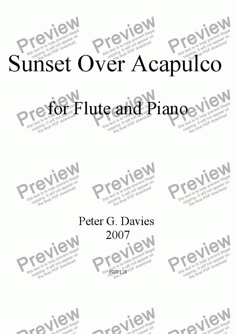 page one of Sunset Over Acapulco for Flute and Piano