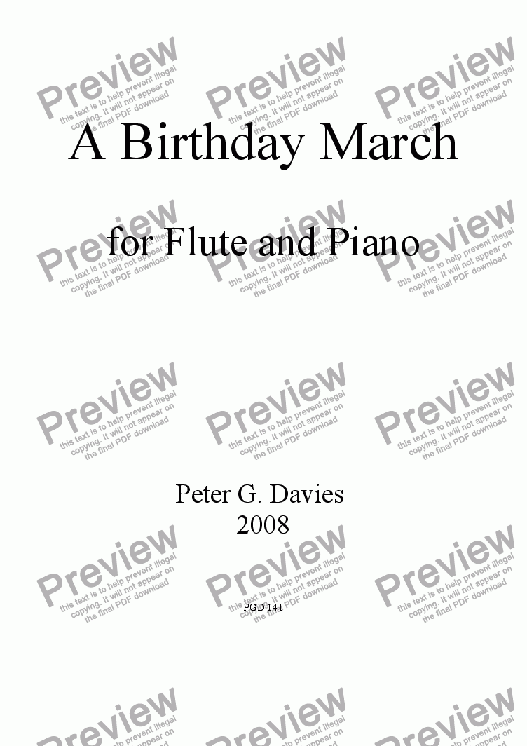 page one of A Birthday March for Flute and PianoASALTTEXT