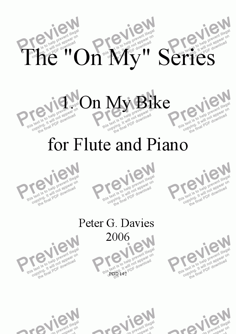 "page one of The ""On My"" Series 1. On My Bike for Flute and Piano"
