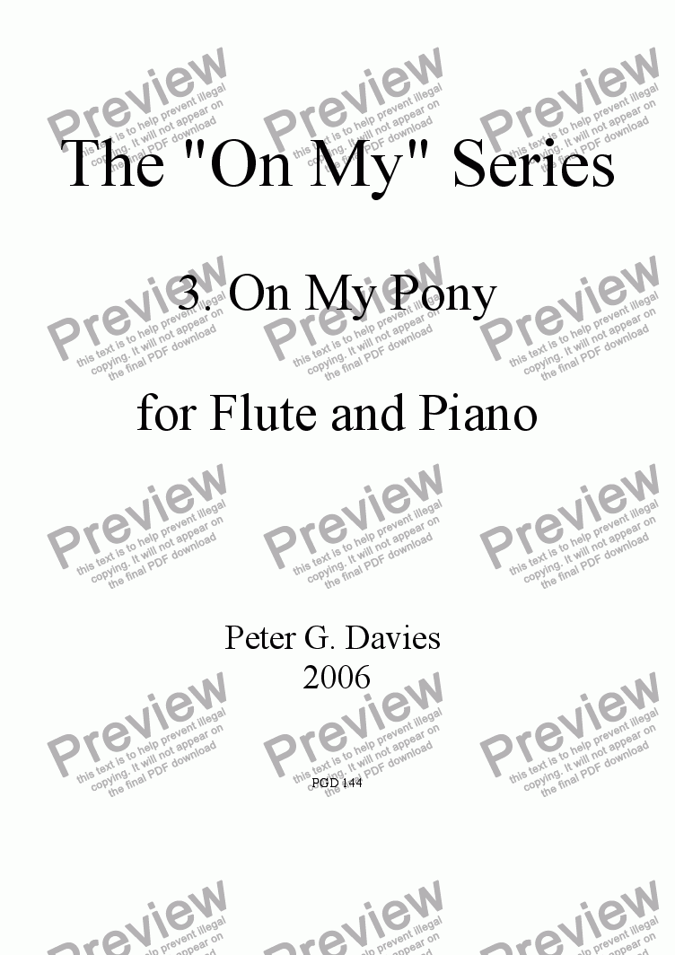"page one of The ""On My"" series 3. On My Pony for Flute and Piano"