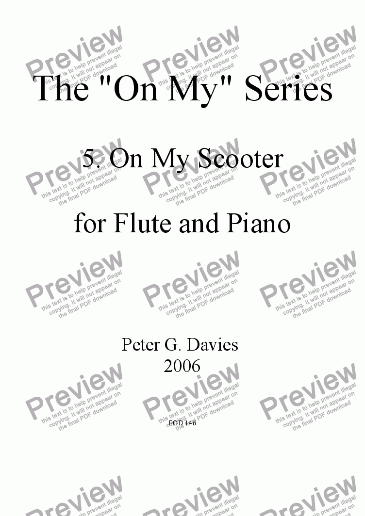 "page one of The ""On My"" Series 5. On My Scooter for Flute and Piano"