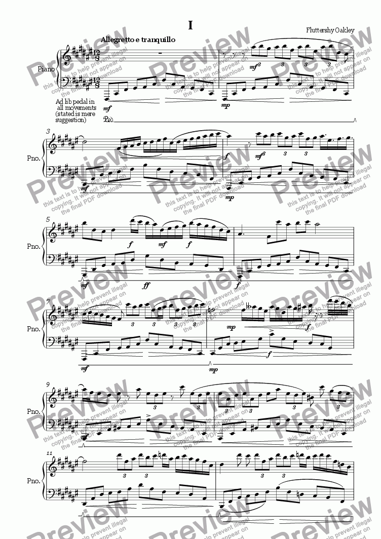 page one of Sonata No. 2 Mvt. I - Tranquillo