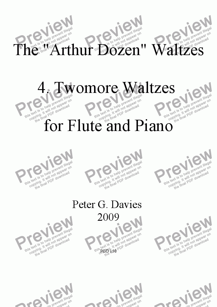 "page one of The ""Arthur Dozen"" Waltzes 4. Twomore Waltzes for Flute and Piano"
