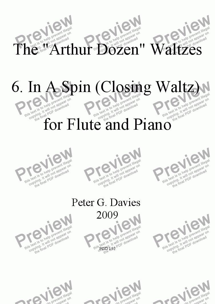 "page one of The ""Arthur Dozen"" Waltzes 6. In a Spin (Closing Waltz) for Flute and Piano"