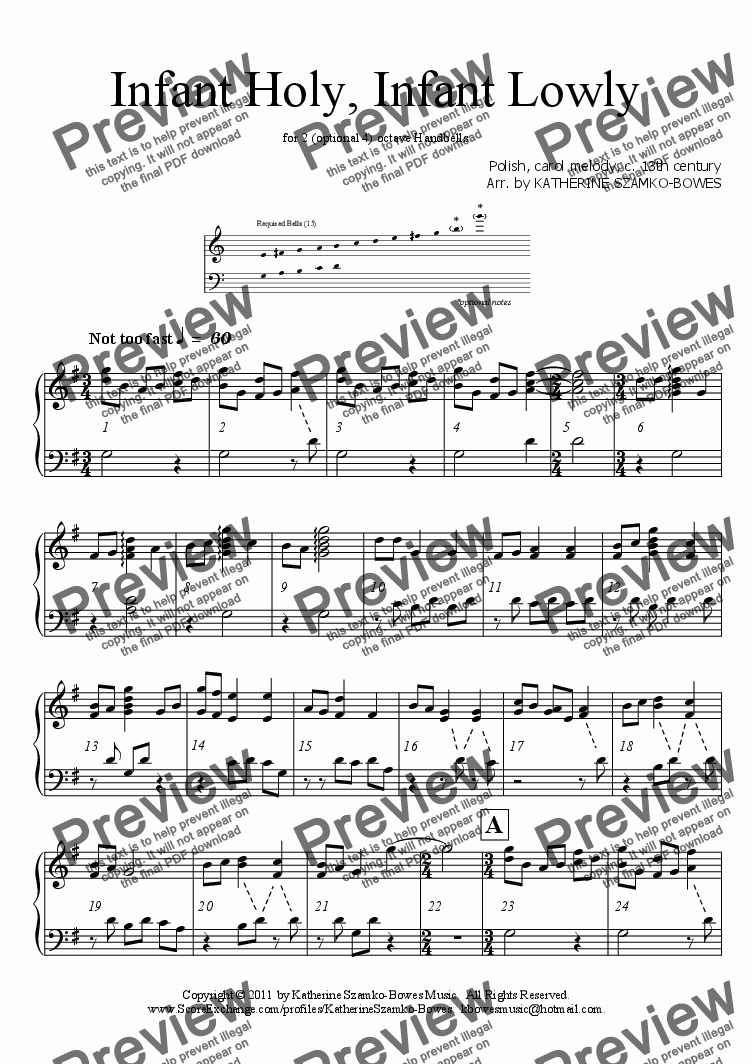 page one of Infant Holy, Infant Lowly (Handbells)