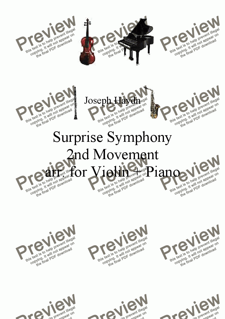 page one of Surprise Symphony (No 94) 2nd Movement