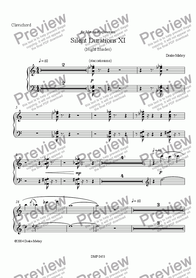 page one of Silent Durations XI for clavichord