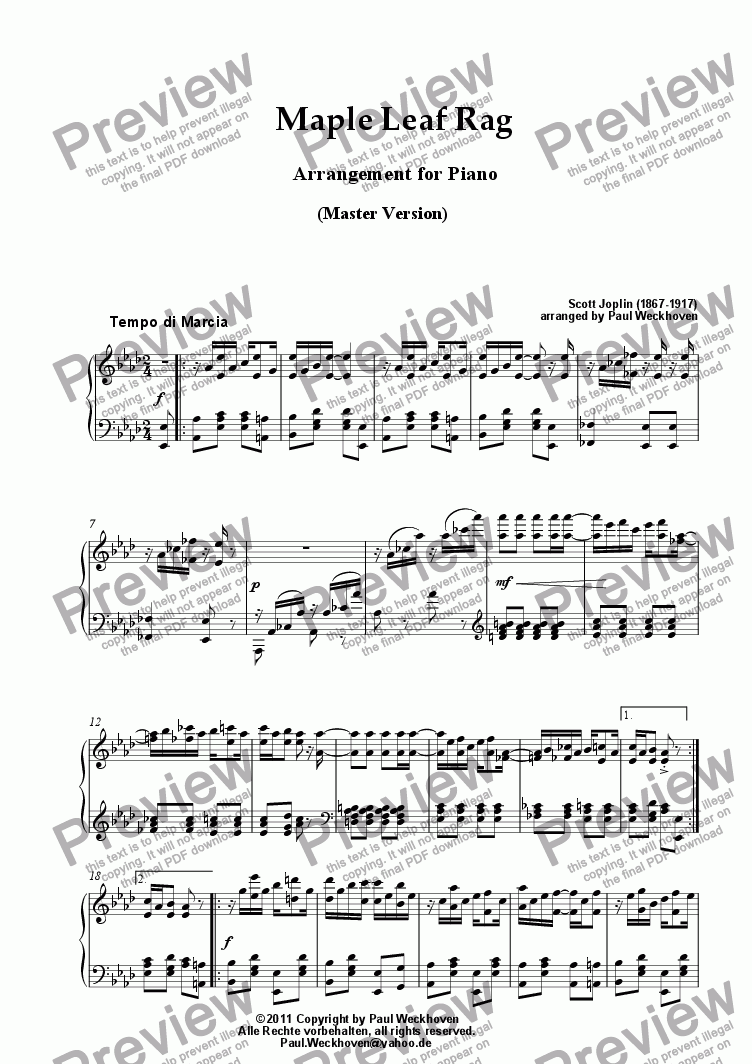 page one of Maple Leaf Rag (Master Version)ASALTTEXT
