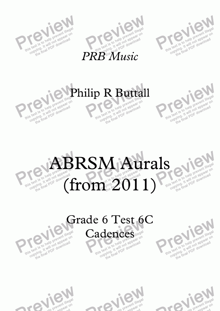 page one of Worksheet: ABRSM Grade 6 Aurals - Cadences