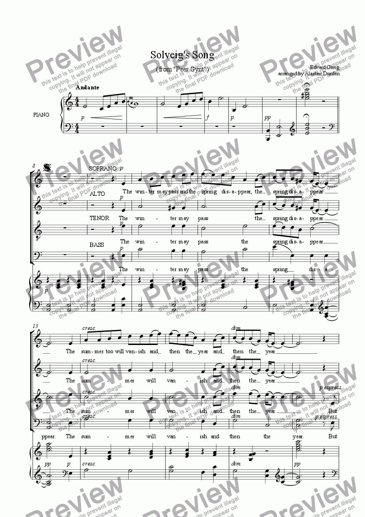 page one of Solveig's Song  (Grieg)