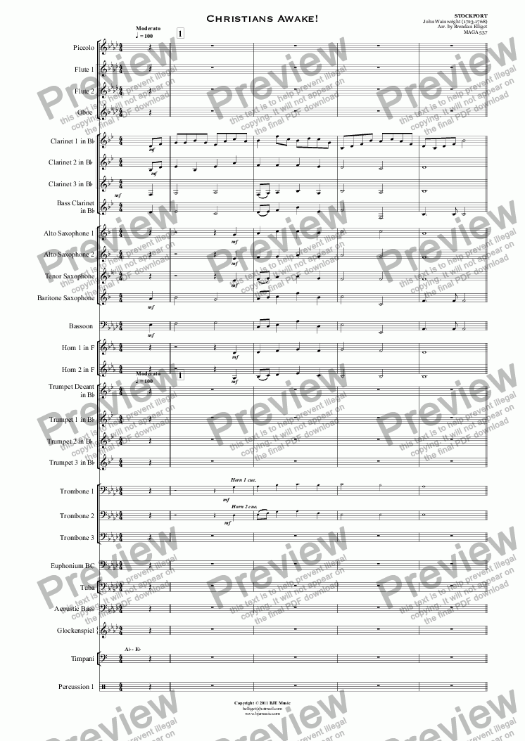 page one of Christians Awake! (Christmas) - Concert Band