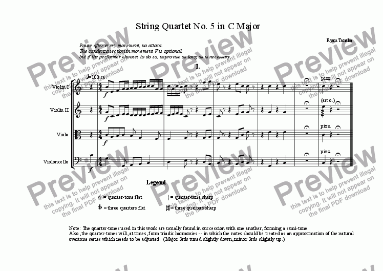 page one of String Quartet No. 5 in C Major